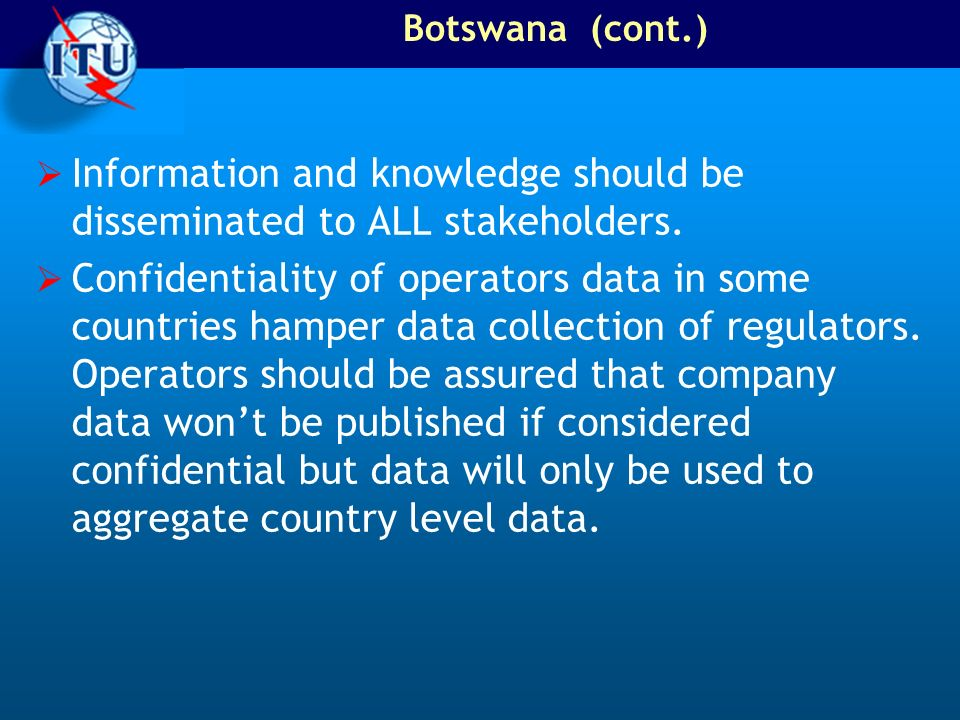 Information and knowledge should be disseminated to ALL stakeholders.