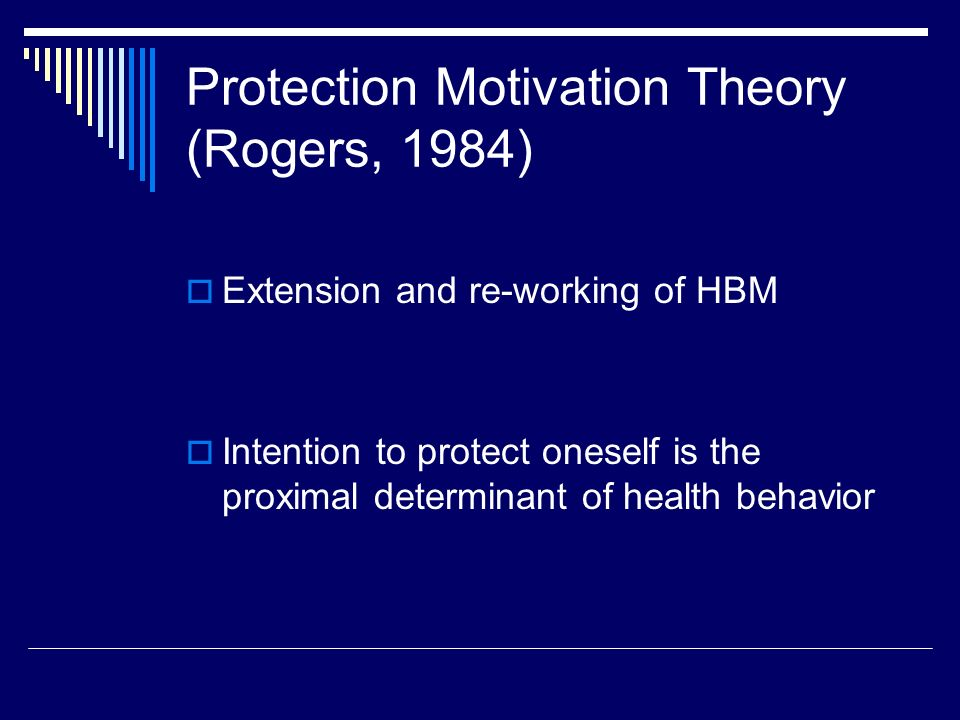 health belief model and protection motivation theory Health belief model protection motivation theory fear appeal health belief model construct personal health behavior these keywords were added by machine and not by the authors this process is experimental and the keywords may be updated as the learning algorithm improves.