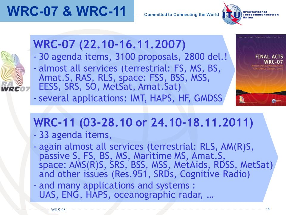 WRC-07 & WRC-11 WRC-07 (22.10-16.11.2007) 30 agenda items, 3100 proposals, 2800 del.!