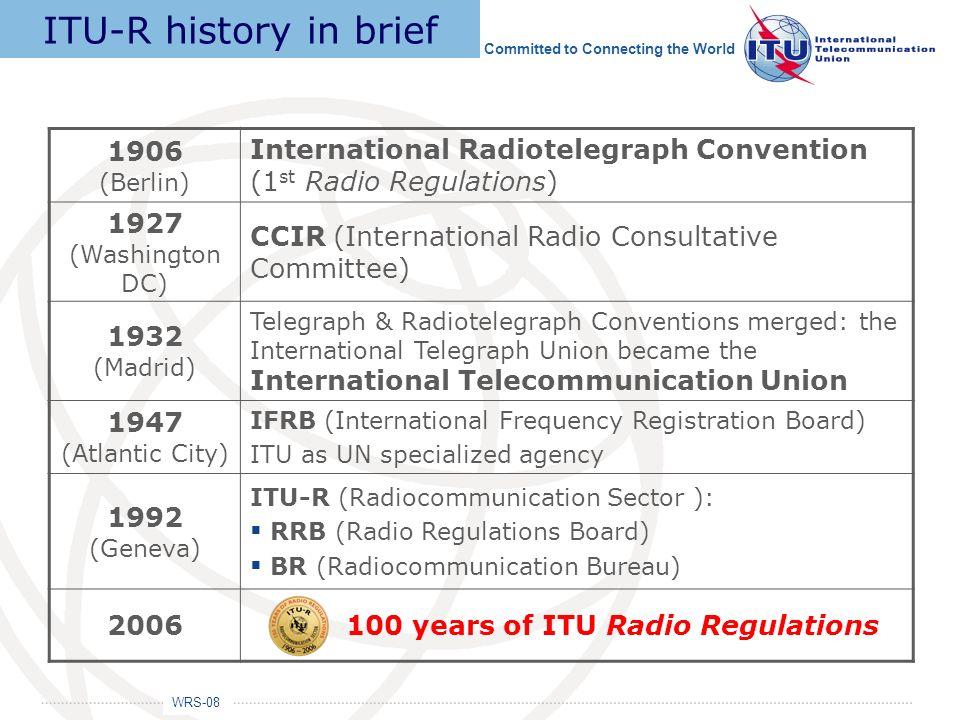 ITU-R history in brief 1906 (Berlin)