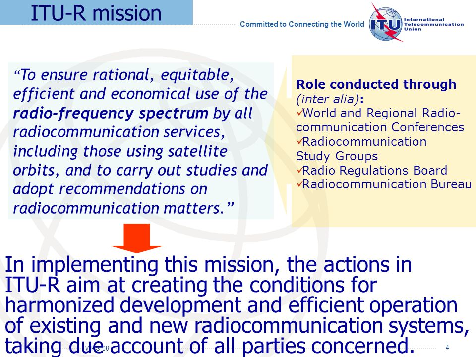 ITU-R mission Role conducted through (inter alia): World and Regional Radio- communication Conferences.
