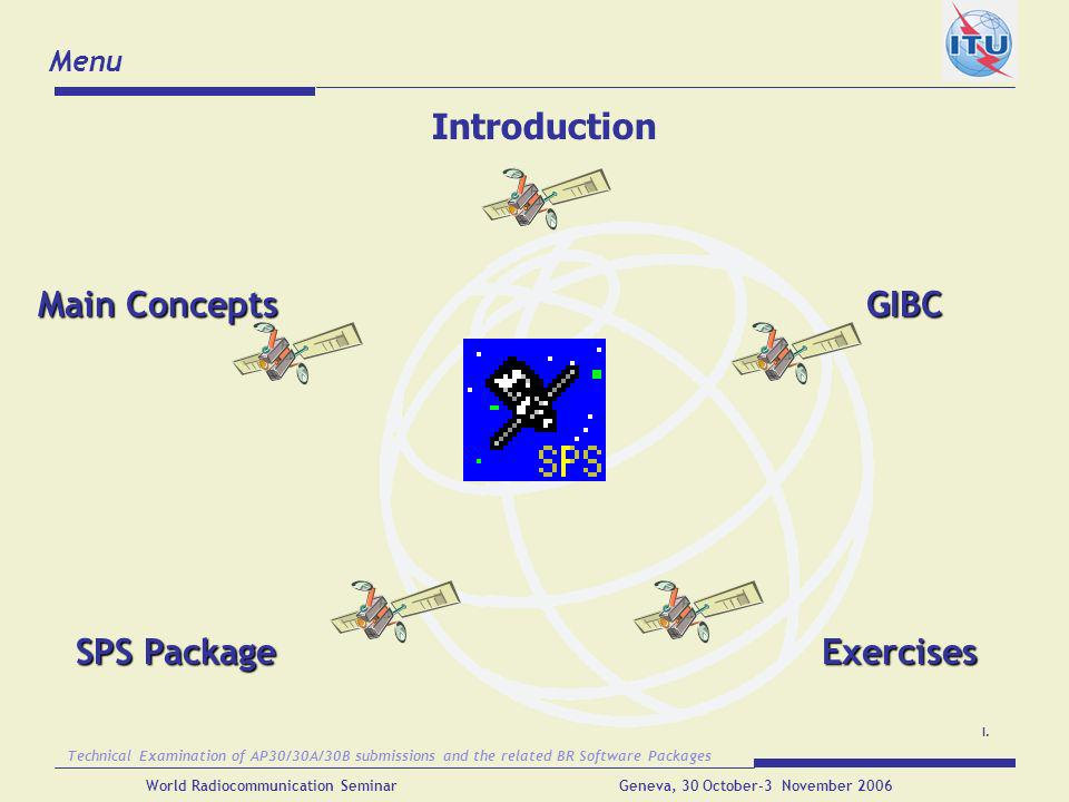 Introduction Main Concepts GIBC SPS Package Exercises Menu