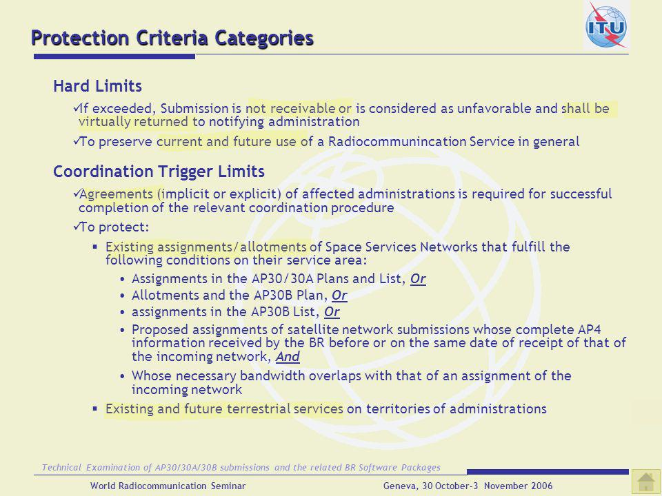 Protection Criteria Categories