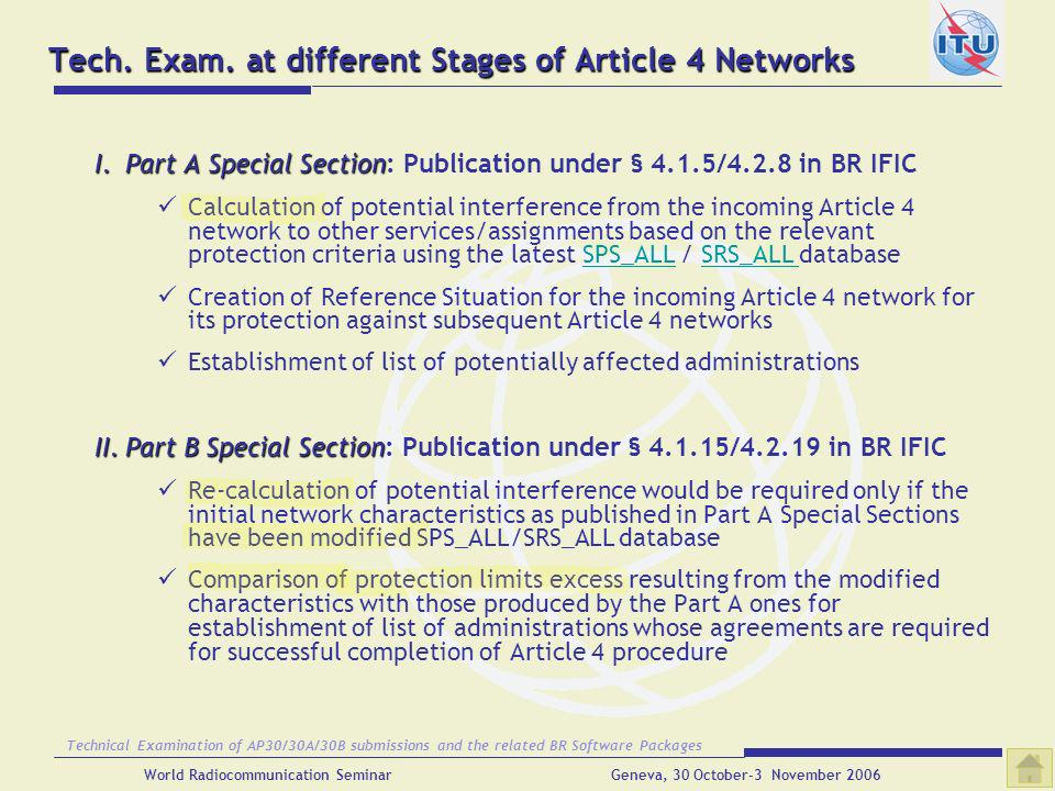 Tech. Exam. at different Stages of Article 4 Networks