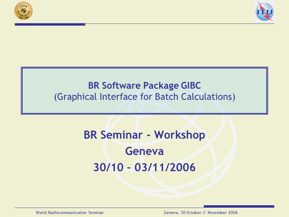 BR Software Package GIBC (Graphical Interface for Batch Calculations)