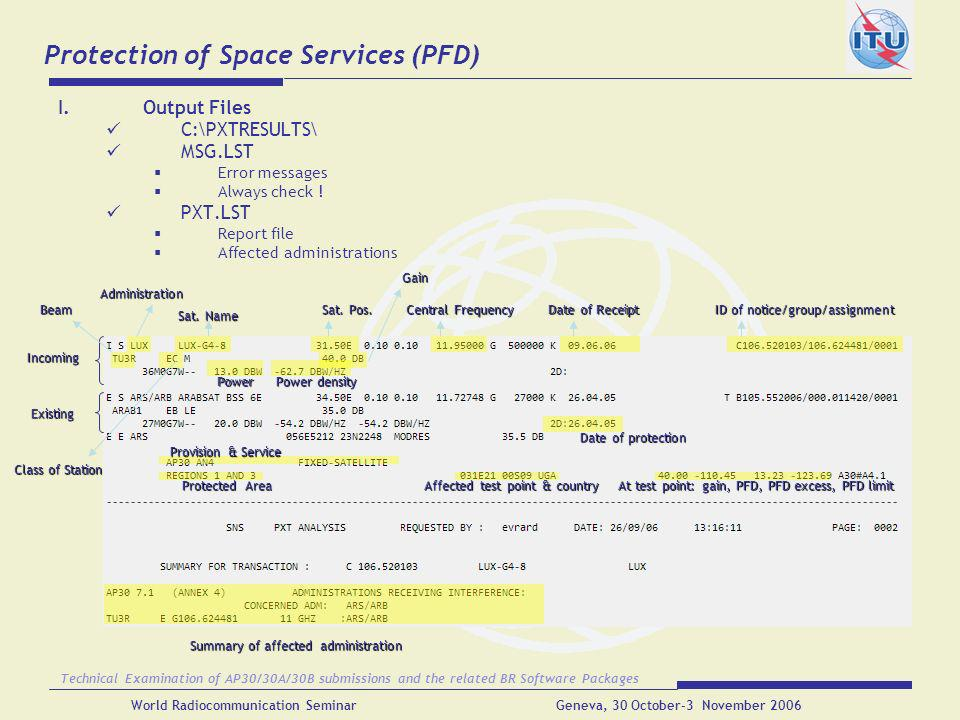 Protection of Space Services (PFD)