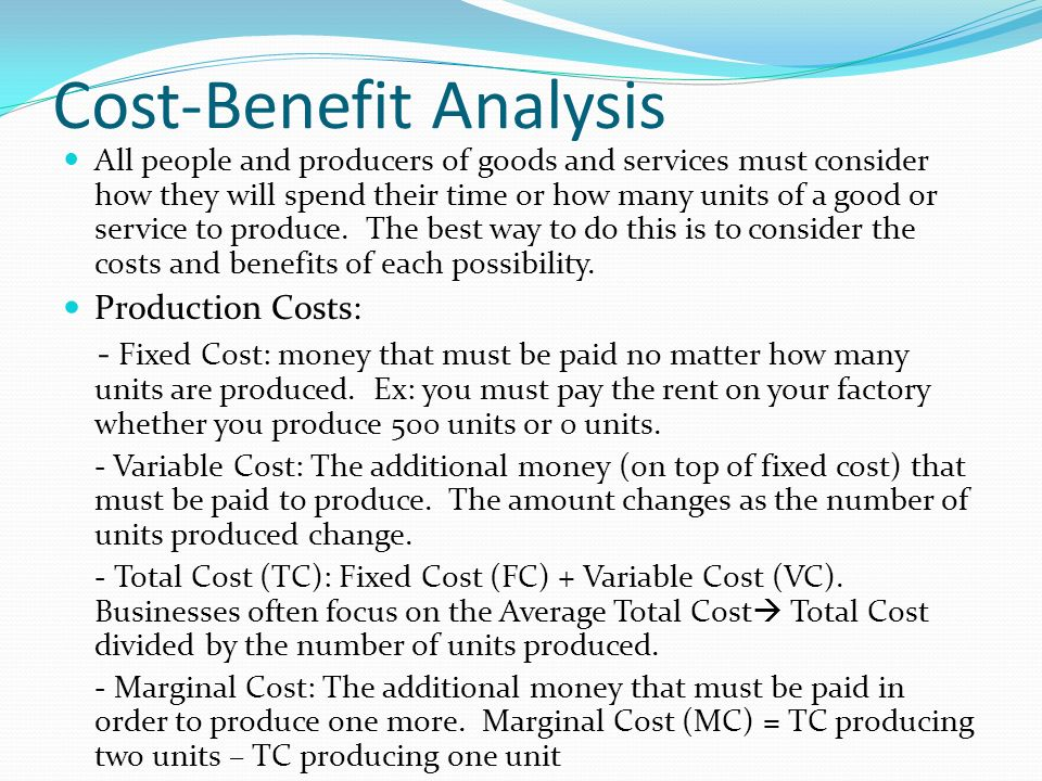 CostBenefit Analysis  Ppt Download