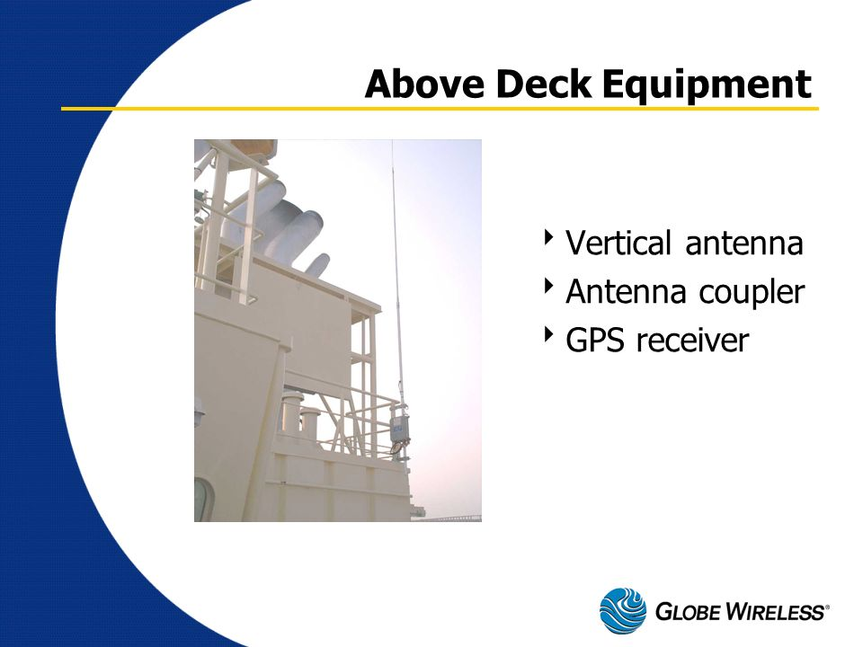 Above Deck Equipment Vertical antenna Antenna coupler GPS receiver