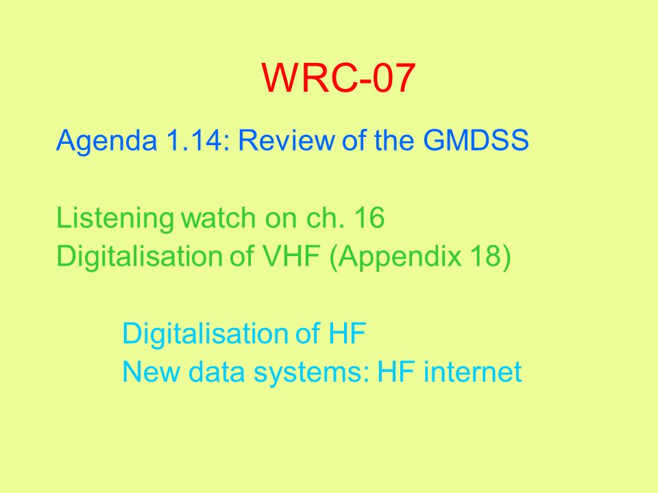 WRC-07 Agenda 1.14: Review of the GMDSS Listening watch on ch. 16