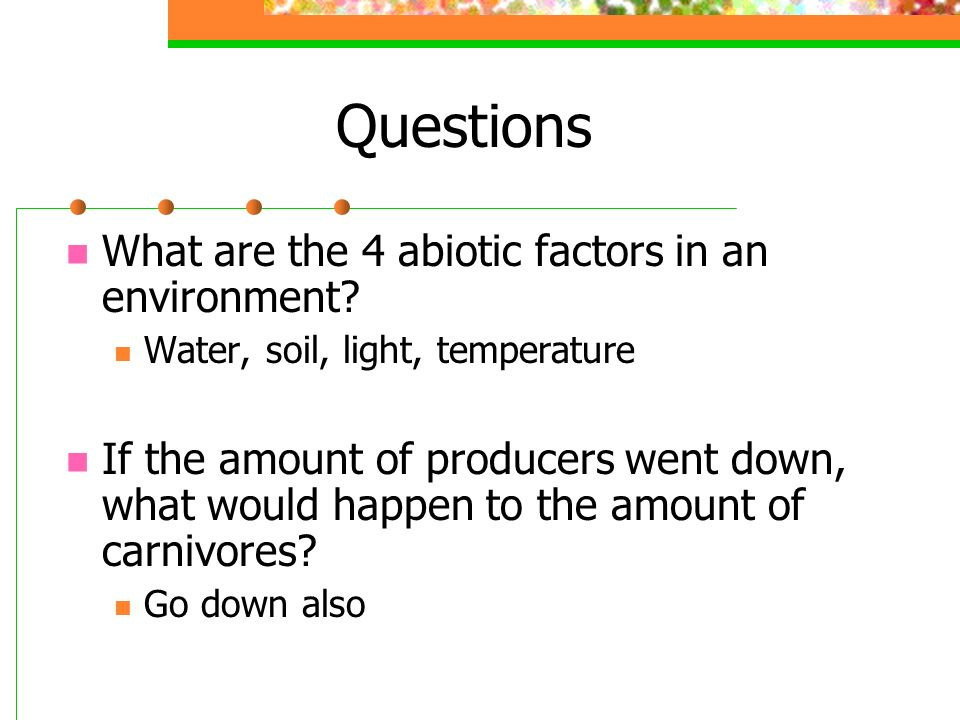 Questions What are the 4 abiotic factors in an environment