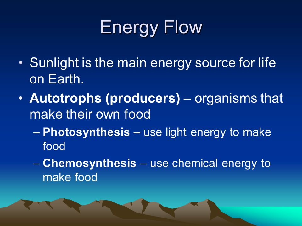 Energy Flow Sunlight is the main energy source for life on Earth.