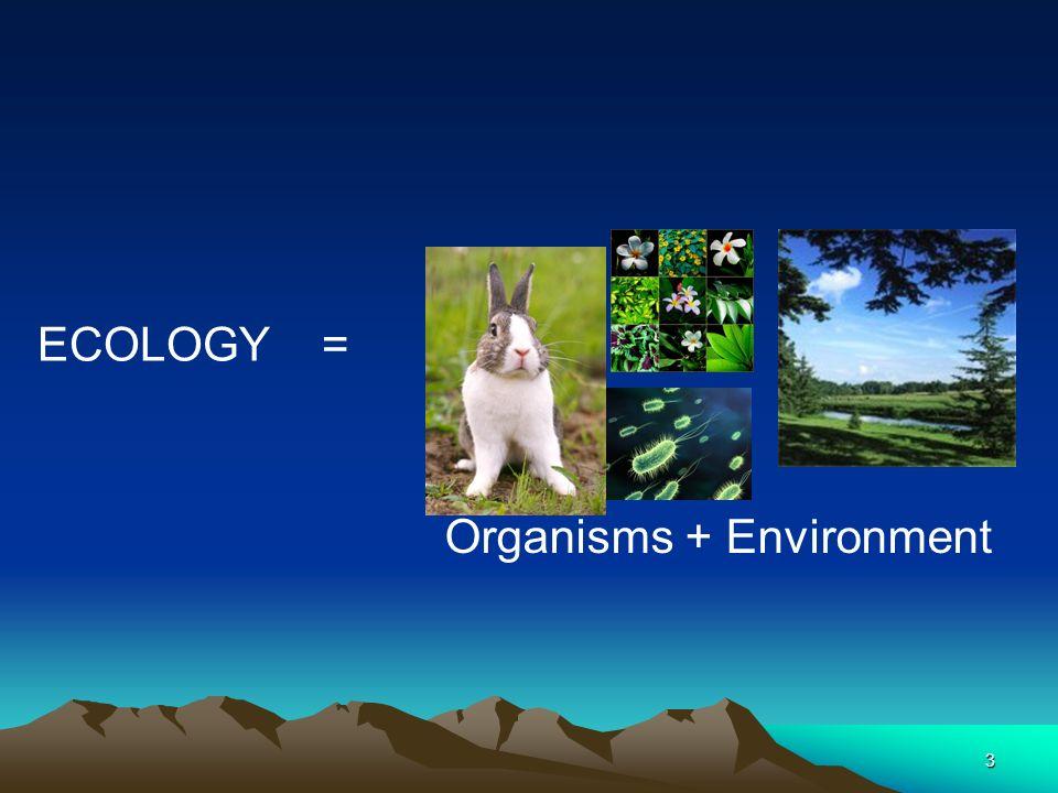 ECOLOGY = Organisms + Environment