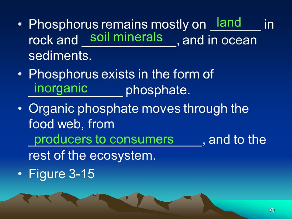 land Phosphorus remains mostly on _______ in rock and _____________, and in ocean sediments.
