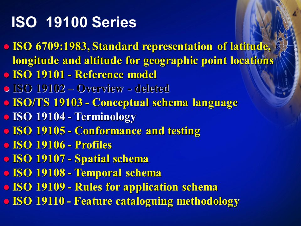 ISO 19100 Series ISO 6709:1983, Standard representation of latitude, longitude and altitude for geographic point locations.