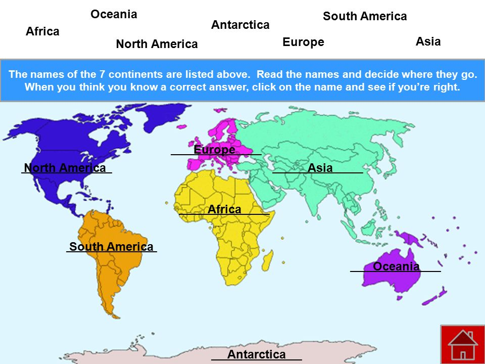 Continent map click on a continent to learn more about it ppt oceania south america antarctica africa north america europe asia publicscrutiny Images