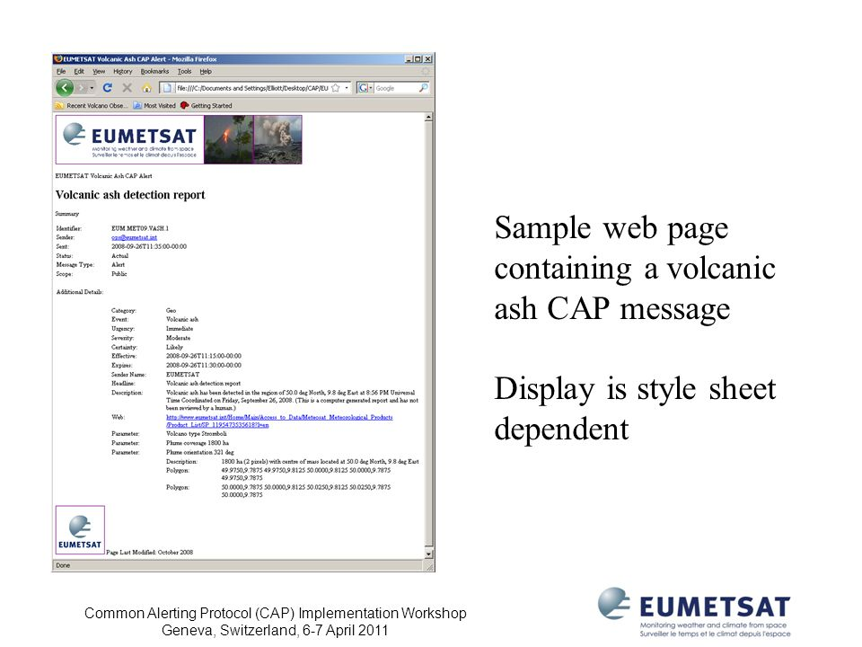 Sample web page containing a volcanic ash CAP message
