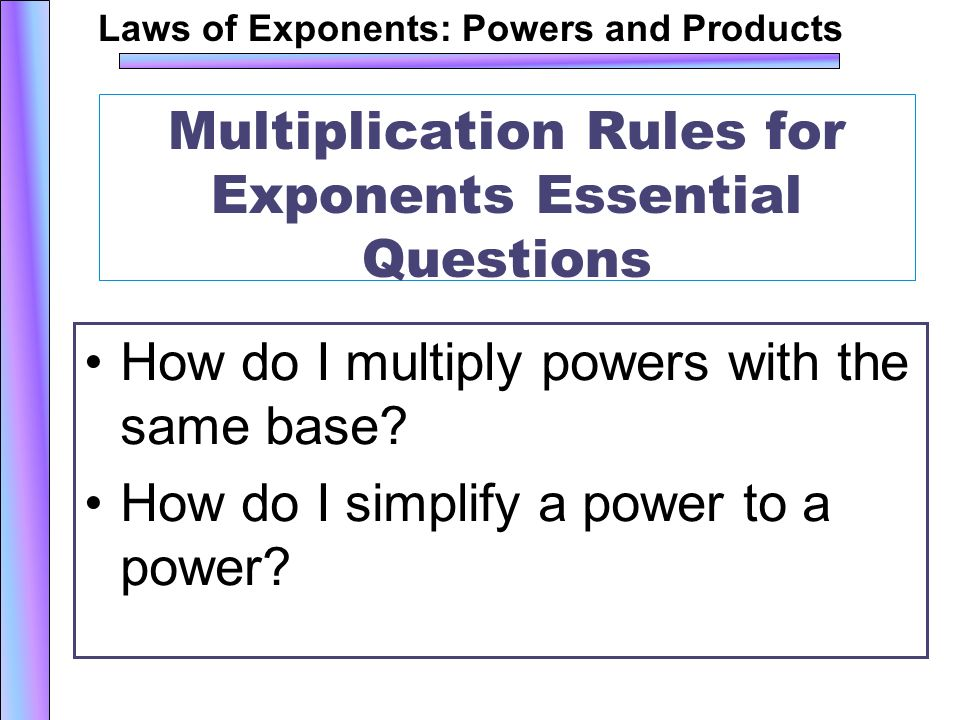 Multiplication Rules for Exponents ppt download – Multiplying Powers with the Same Base Worksheet