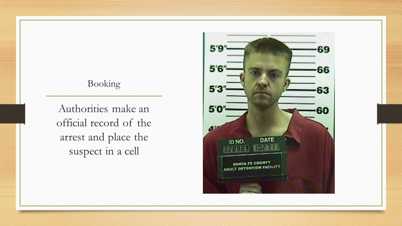 Booking Authorities make an official record of the arrest and place the suspect in a cell