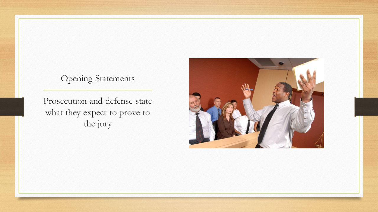 Prosecution and defense state what they expect to prove to the jury