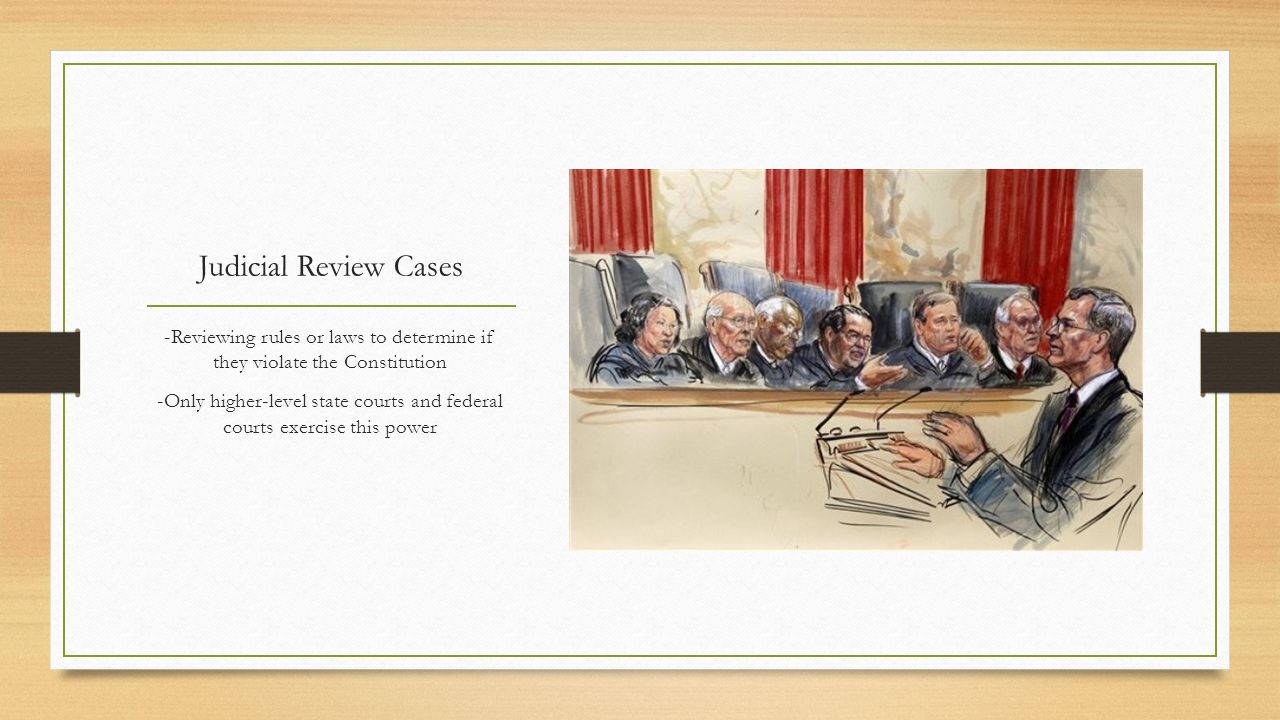 Judicial Review Cases -Reviewing rules or laws to determine if they violate the Constitution.