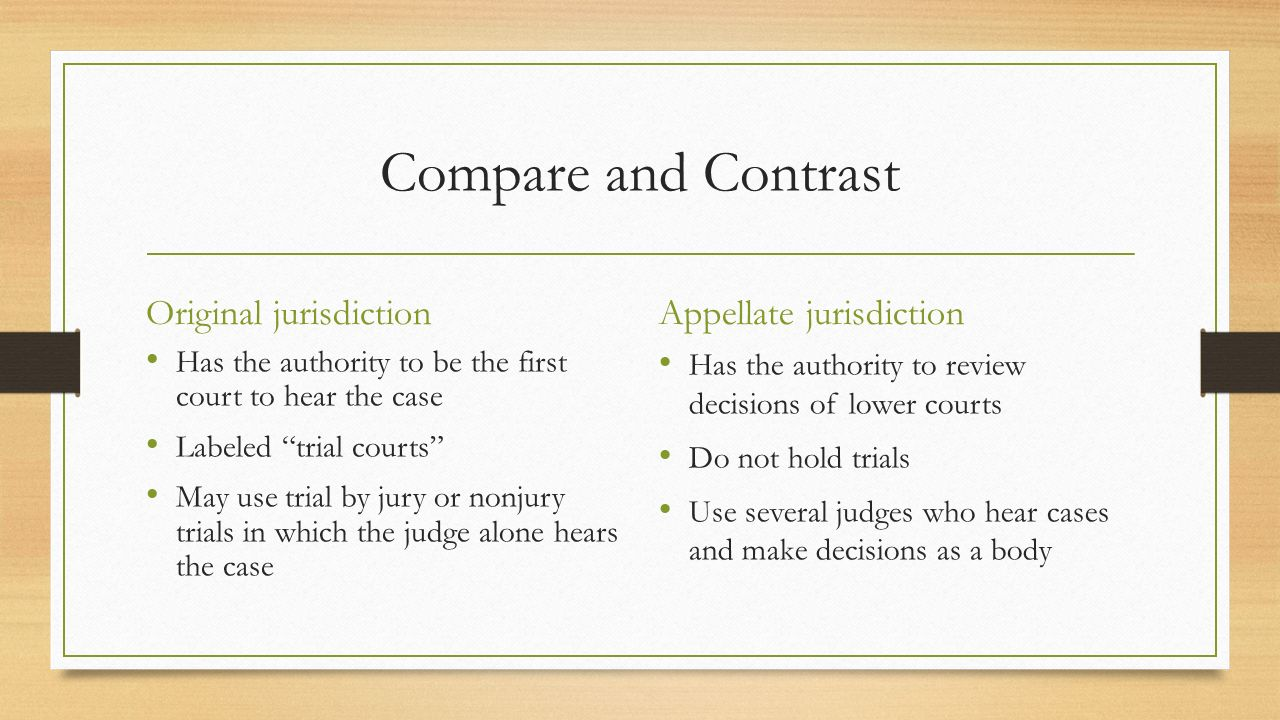 Compare and Contrast Original jurisdiction Appellate jurisdiction