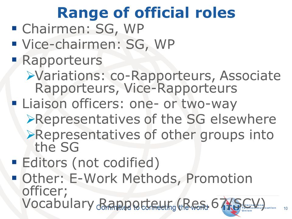Range of official roles