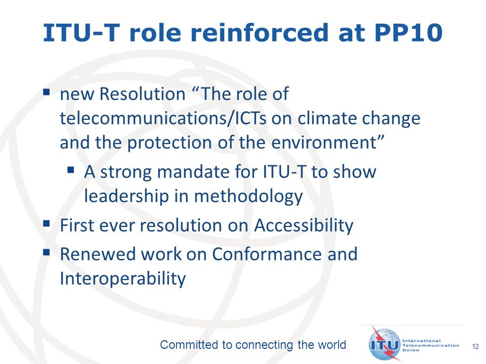 ITU-T role reinforced at PP10