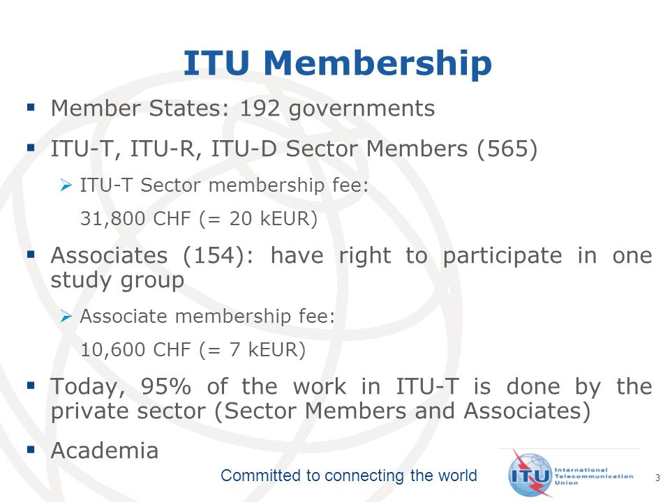 ITU Membership Member States: 192 governments