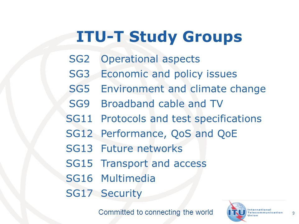 ITU-T Study Groups SG2 Operational aspects SG3