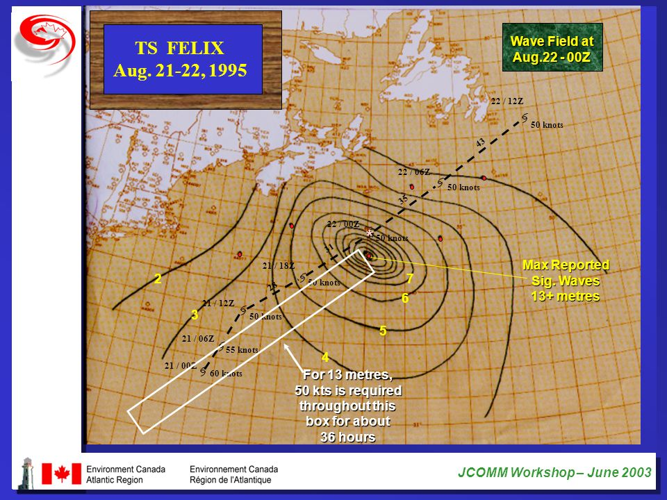 TS FELIX Aug. 21-22, 1995 * Wave Field at Aug.22 - 00Z Max Reported