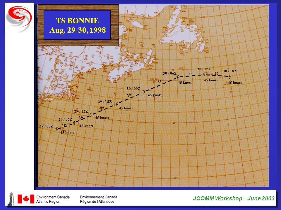 TS BONNIE Aug. 29-30, 1998. 30 / 12Z. 30 / 18Z. 30 / 06Z. 25. 26. 34. 45 knots. 45 knots. 45 knots.