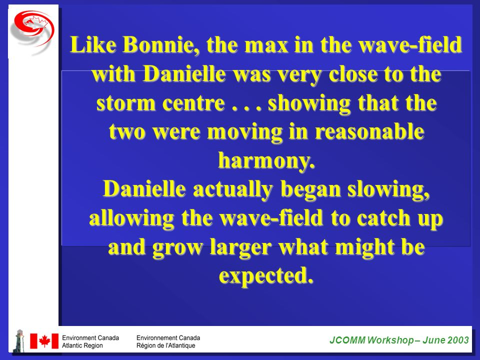 Like Bonnie, the max in the wave-field with Danielle was very close to the storm centre .