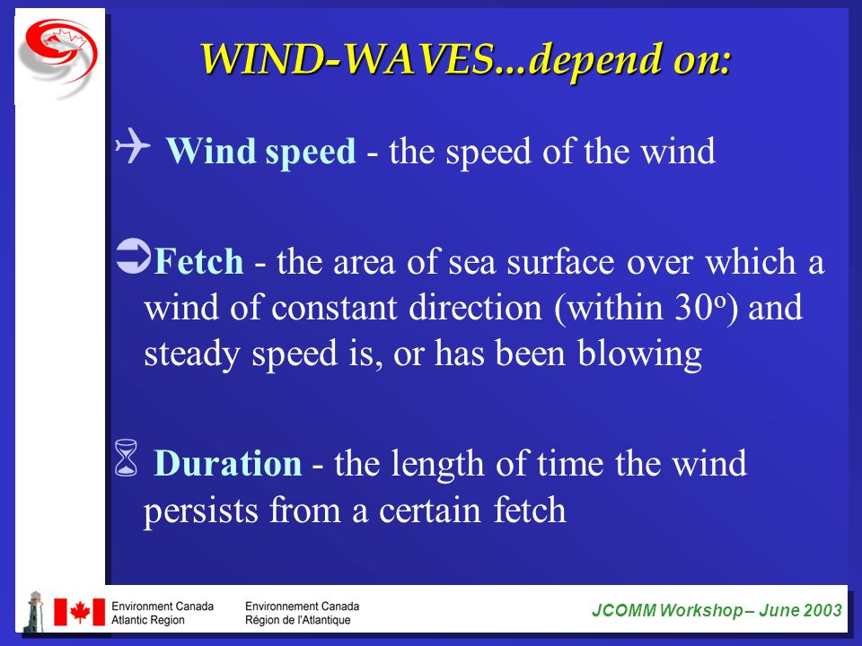 WIND-WAVES...depend on: Wind speed - the speed of the wind