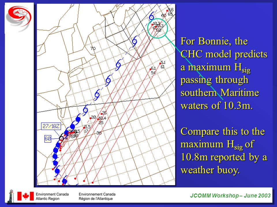 For Bonnie, the CHC model predicts. a maximum Hsig. passing through. southern Maritime. waters of 10.3m.