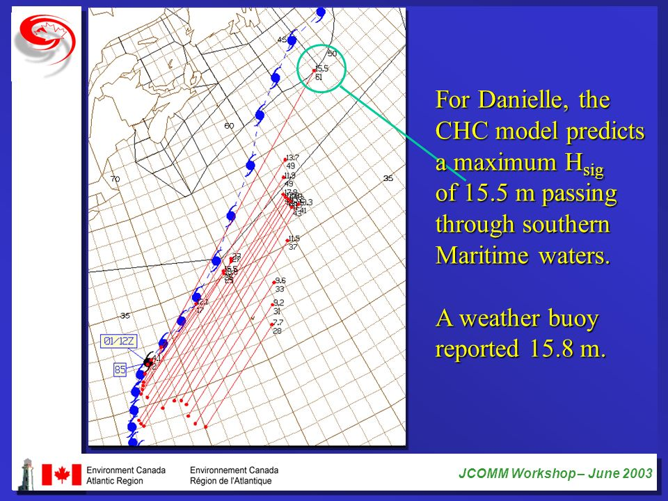 For Danielle, the CHC model predicts. a maximum Hsig. of 15.5 m passing. through southern. Maritime waters.
