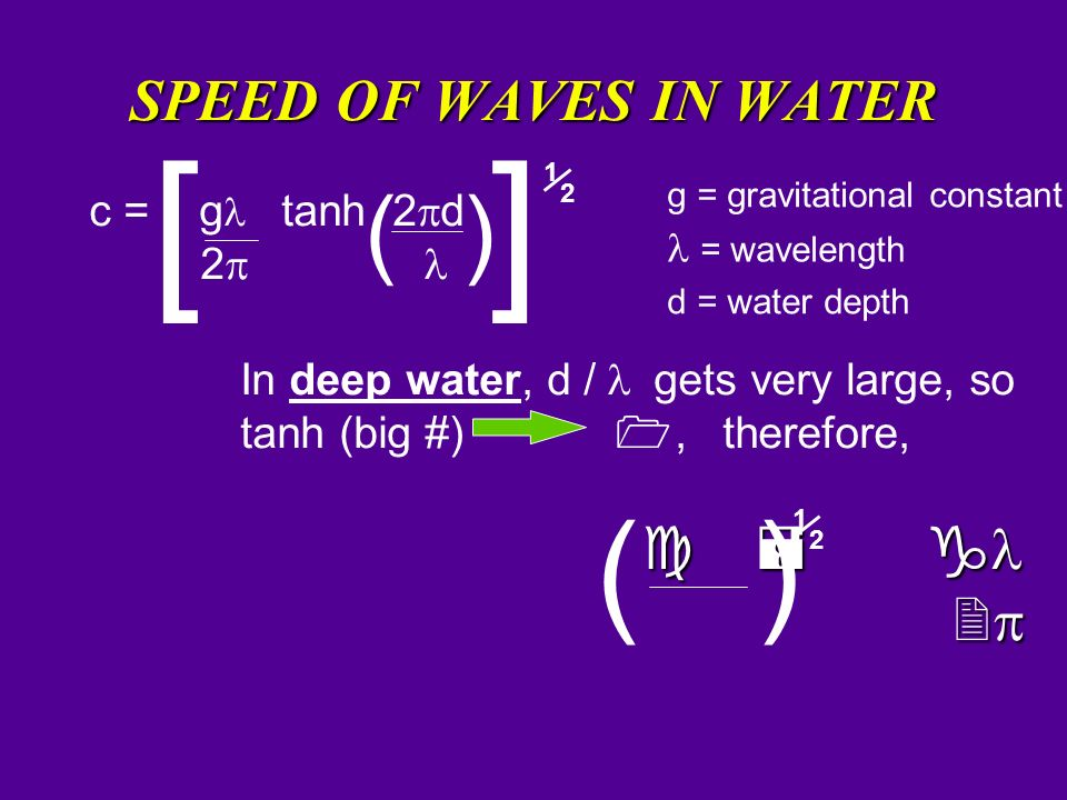 ( ) SPEED OF WAVES IN WATER 2p c = gl tanh 2pd 2p l