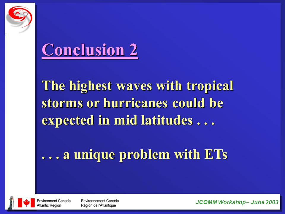 Conclusion 2 The highest waves with tropical storms or hurricanes could be expected in mid latitudes . . .
