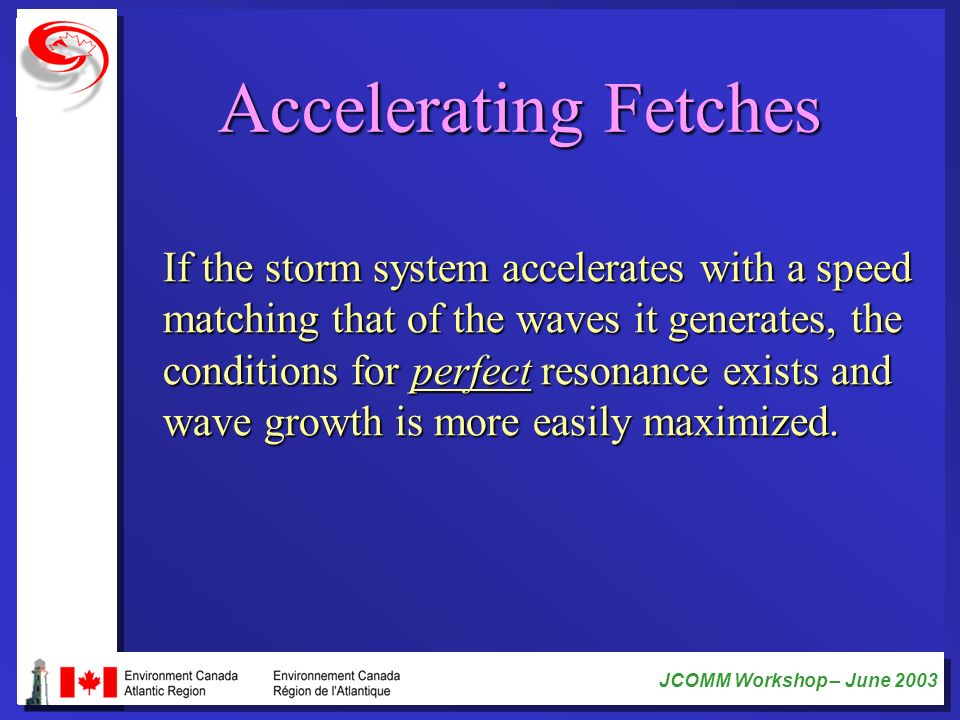Accelerating Fetches If the storm system accelerates with a speed