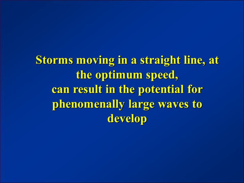 Storms moving in a straight line, at the optimum speed, can result in the potential for phenomenally large waves to develop
