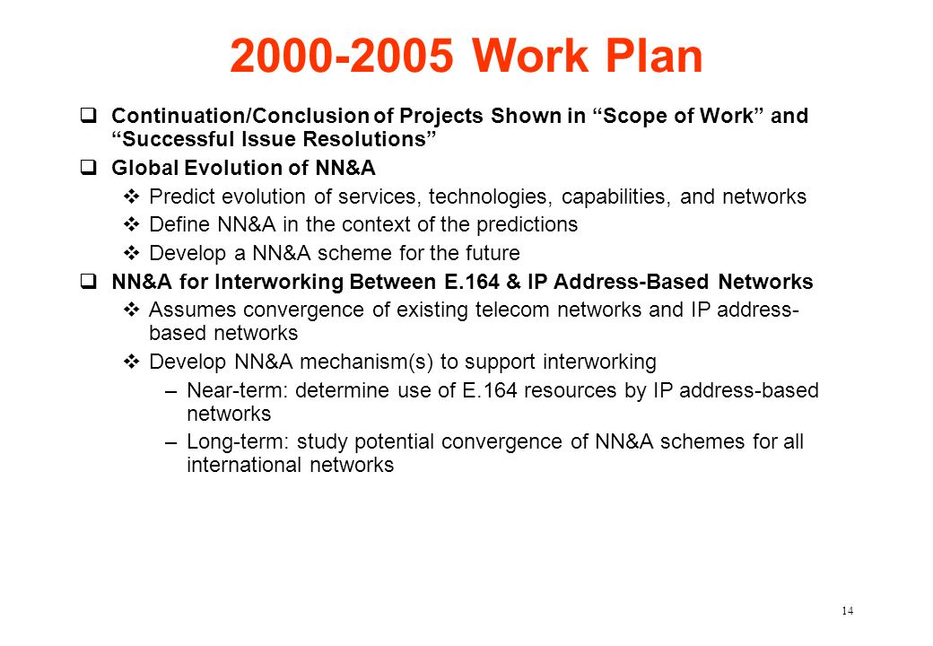 2000-2005 Work Plan Continuation/Conclusion of Projects Shown in Scope of Work and Successful Issue Resolutions