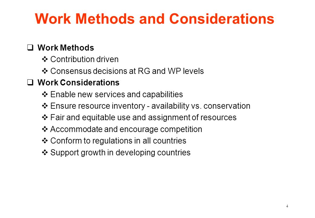 Work Methods and Considerations