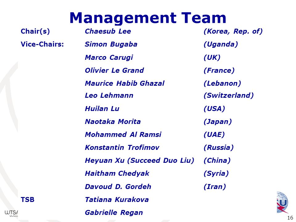 Management Team Chair(s) Chaesub Lee (Korea, Rep. of) Vice-Chairs:
