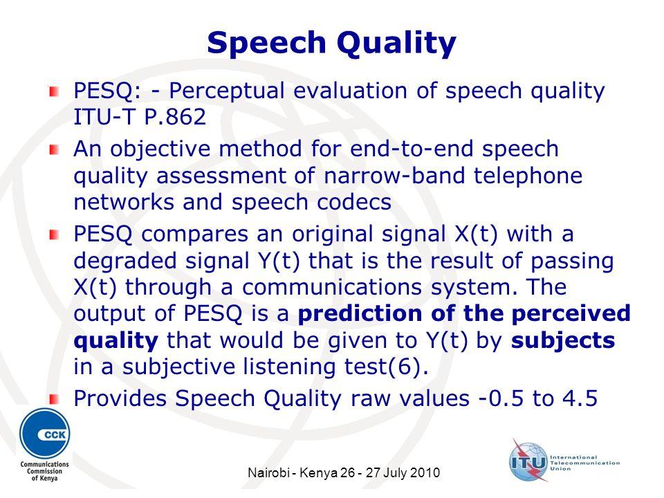 Speech Quality PESQ: - Perceptual evaluation of speech quality ITU-T P.862.