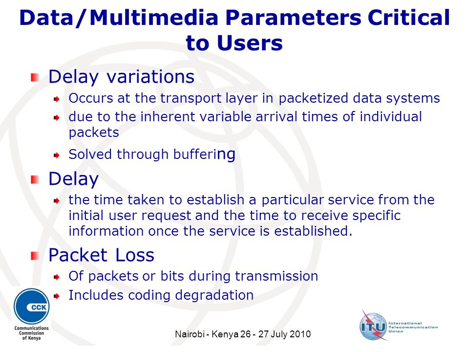 Data/Multimedia Parameters Critical to Users