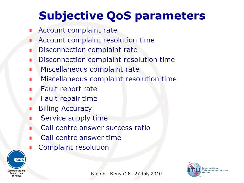 Subjective QoS parameters