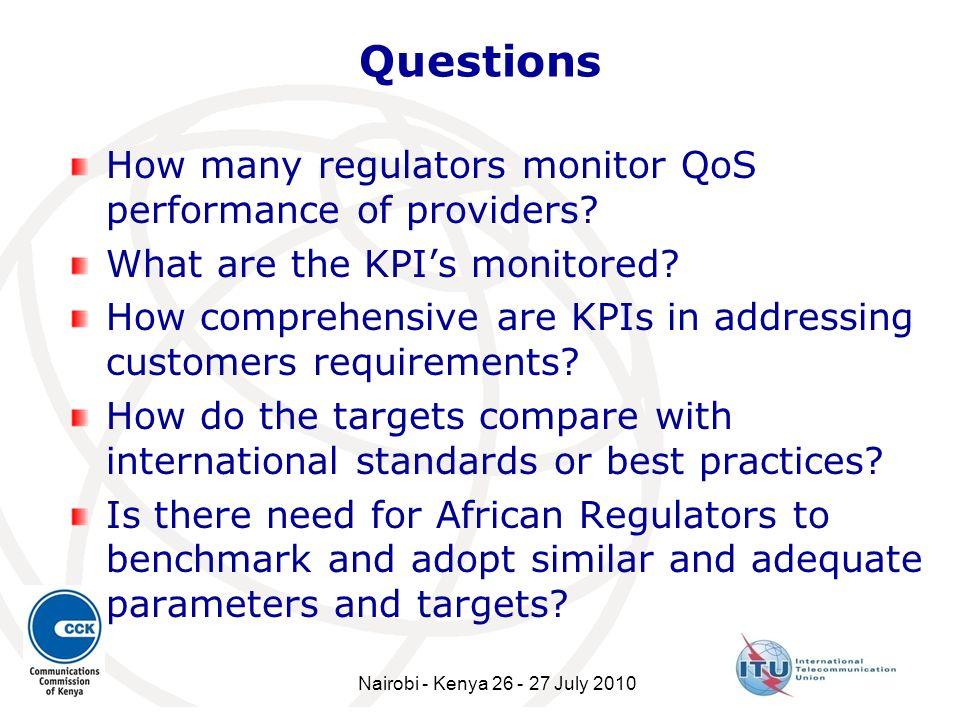Questions How many regulators monitor QoS performance of providers