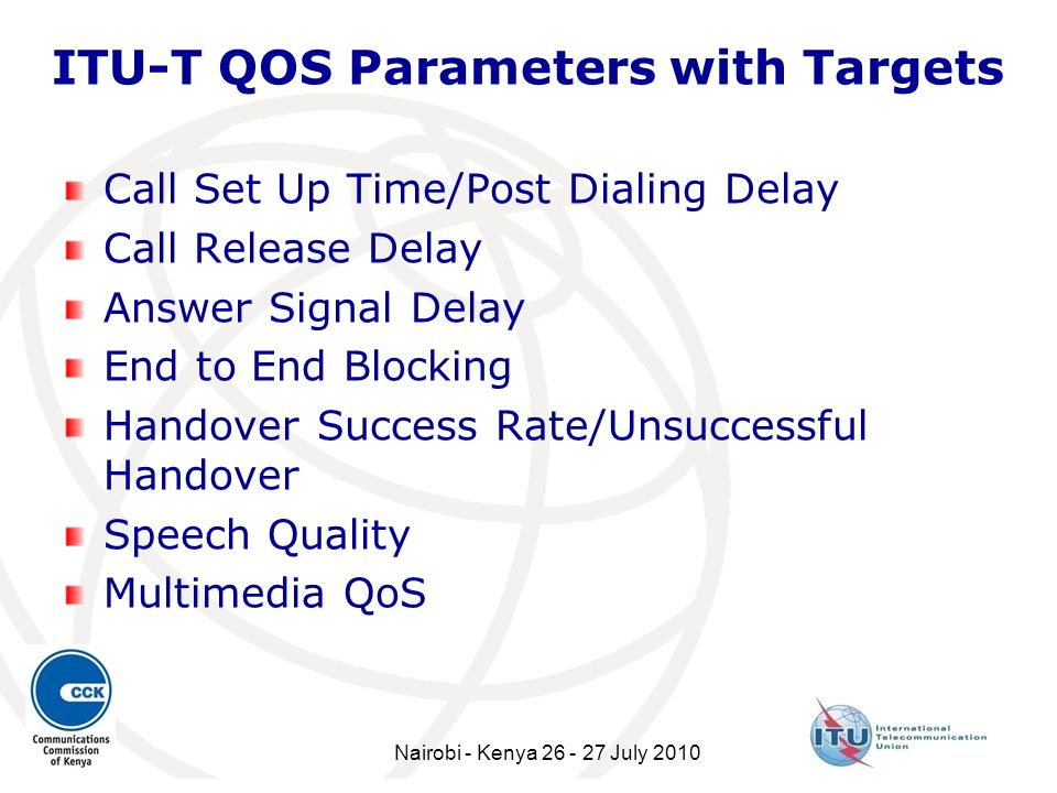 ITU-T QOS Parameters with Targets