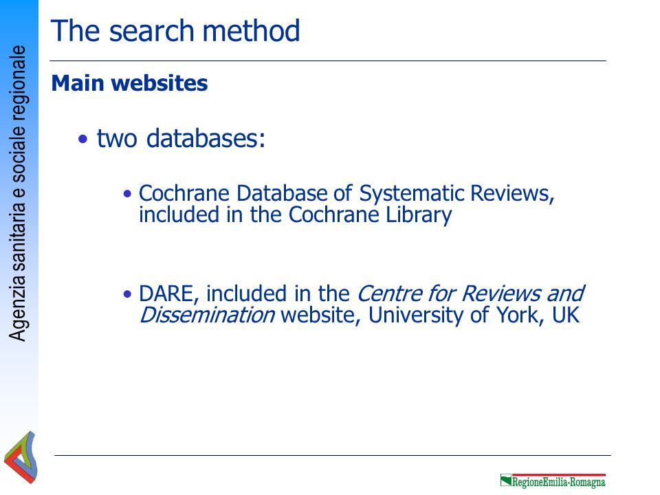The search method two databases: Main websites