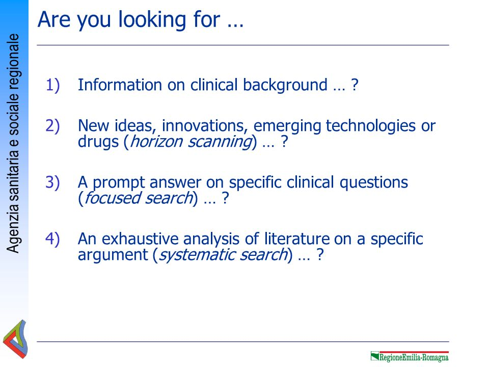 Are you looking for … Information on clinical background …