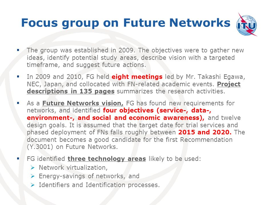 Focus group on Future Networks